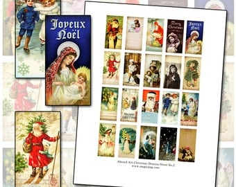 Altered Art Victorian Christmas II Domino digital collage sheet 1x2 inch 25mm x 50mm rectangle