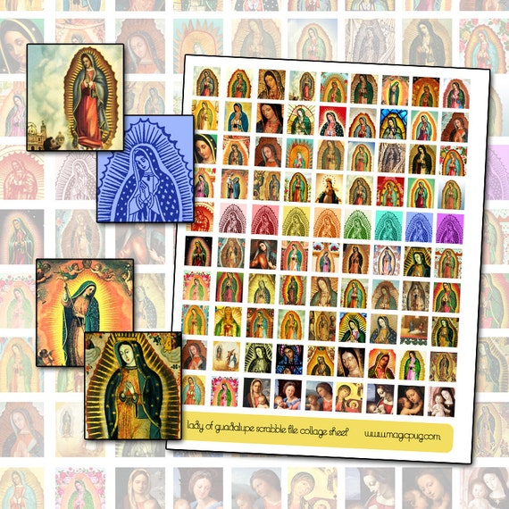 Lady of Guadalupe Scrabble Tile collage sheet for pendant or magnets 19mm x 21mm .75 in x .38 in rainbow religious mexican