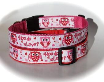 Valentine Dog Collar - Red or Pink - Owls - Hoo do u Love