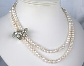 Vintage Rhinestone Wedding Necklace, 2 Strand Pearl Necklace, Freshwater Pearl, Silver, Handmade, June