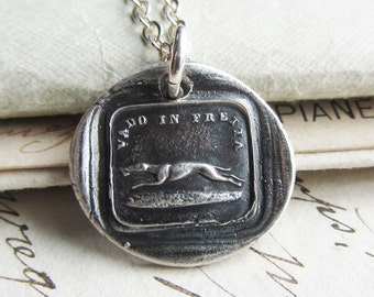 Hurry - Greyhound Italian Wax Seal Necklace in fine silver - antique Italian wax seal greyhound jewelry