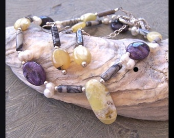 Yellow Opal, Black Webbed Jasper, Sugilite, Freshwater Pearl, Bali and Sterling Silver Necklace and Coordinating Earrings Set