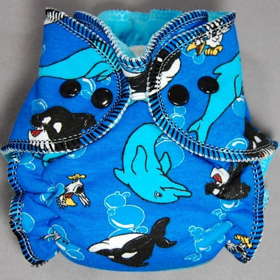 Cloth Diaper Newborn Hybrid Fitted - by Little Boppers - Dolphins and Orcas