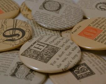 CHOOSE YOUR INITIAL--Vintage Ephemera Pocket Mirror Book Initials--Studio Destash or Wholesale