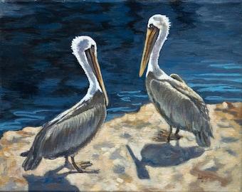 Original Oil Painting, Pelicans, Oregon, sunshine, shadows