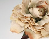 Large Peony in Khaki Champagne Beige - 6 Inches -Artificial Flower, Millinery Flower - ITEM 007