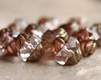 Czech Glass Turbine Bead Transparent Crystal Picasso Antique Style Faceted 11x10mm Oval : 10 pc