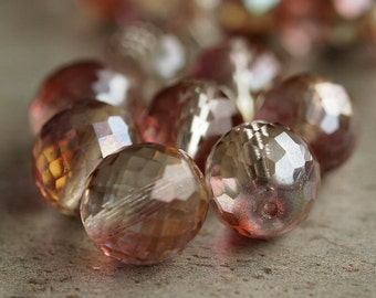 14mm Czech Glass Crystal Monet Faceted Round Bead : 6 pc Large Pink Bead