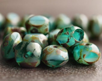 Turquoise Green Picasso Czech Glass Bead Quadrie 7x6mm :  LAST 12 pc
