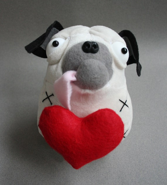 Puddin' Don't  Plush - Puddin Don't have a heart on.  Bean bag style