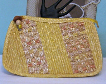 Vintage Straw Bag Large 70s Color Block Yellow / Tan Straw  Clutch