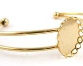 Gold Metal Cuff Bracelet Blank // Bracelet Stone Setting // 18 x 13 mm setting // Cabochon Setting // Lapidary Supply // KS220