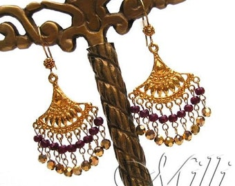 Ruby, 18k, 24k Vermeil Gold and Swarovski Crystal Aurum 2x Chandelier Earrings.