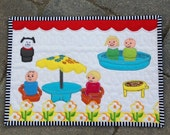 Grillin' n chillin' vintage Little People mini quilt
