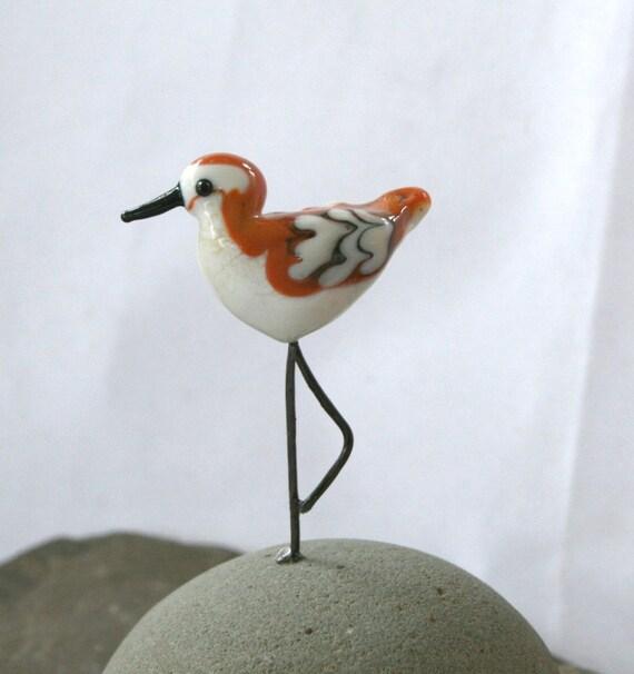 Artisan glass lampwork sandpiper ...sra... shore bird sculpture ...  Skittle ...by Simply Cindy