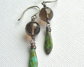 Smoky Quartz and Turquoise Czech Glass Earrings