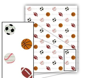 Sports Balls Themed Patterned Paper for Scrapbooking and Gift Wrapping Printable Color Digital PDF