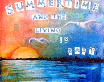 Sunset print summertime  print ocean beach waves sunset birds summer seagulls