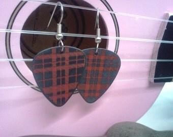 Red Plaid guitar pick earrings