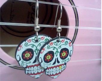 Sugar Skull guitar pick earrings
