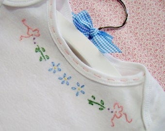 Ribbons And Flowers For Baby - Hand Embroidered Onesie, or Bodysuit