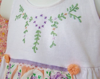 12 Months - Hand Embroidered Hanky Apron Dress - Ready to Ship - FREE SHIPPING