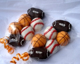 Cake Balls: Sports Pack - Baseball Football Basketball Bitty Bites.  Great gift for Father's Day, birthdays or team snacks