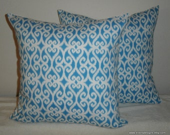 Decorative-Accent-Throw  Set of Two Pillow Covers-Free US Shipping-18 Inch Ikat Scroll in Turquoise and White Indoor Outdoor
