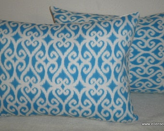 Decorative-Accent-Throw  Set of Two Pillow Covers-Free US Shipping- 12 x18 Inch Ikat Scroll in Turquoise and White Indoor Outdoor
