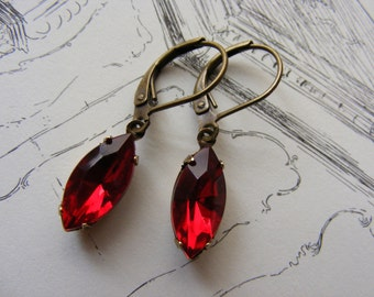 Vintage Glam Earrings (Ruby Red Version) Womens Jewelry