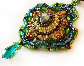 Green Romantic Victorian Pendant Necklace - Swarovski and Delica Beads Beadwork Necklace
