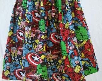Plus Size Full Skirt Made From Avengers Fabric - Captain America, Spiderman, Ironman, Wolverine, Hulk, Thor