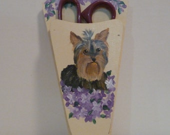 Yorkshire Terrier Dog Scissors Holder Hand Painted Pet Lovers Boutique Yorkie