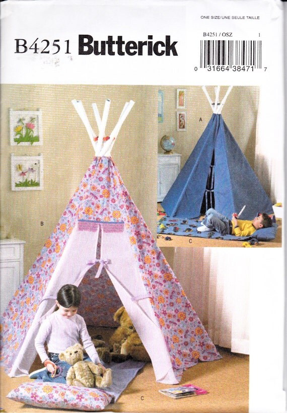 Butterick 4251 Teepee Mat Sewing Pattern Girl Boy Fort Hide
