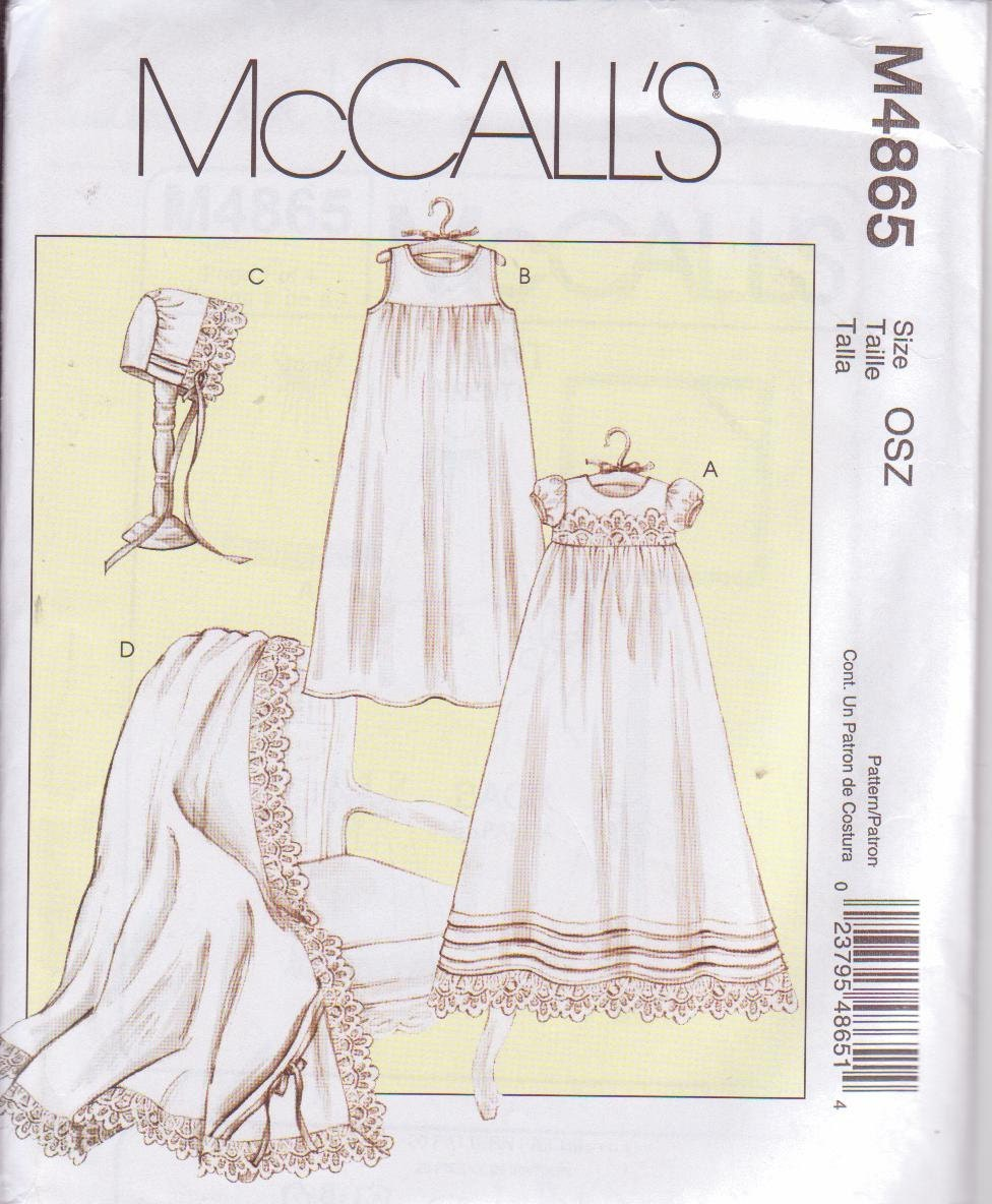 Mccall S 4865 Sewing Pattern Baby Christening Baptism