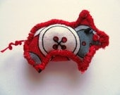 Tiny Red Button Brooch  Pocket Pig