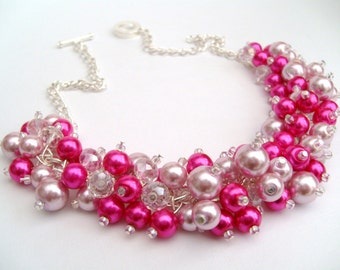 Set of 8 Hot Pink Pearl Beaded Necklaces, Hot Pink Bridesmaid Gifts, Cluster Necklace,  Chunky Pearl Necklace, Pink Bridesmaids Jewelry