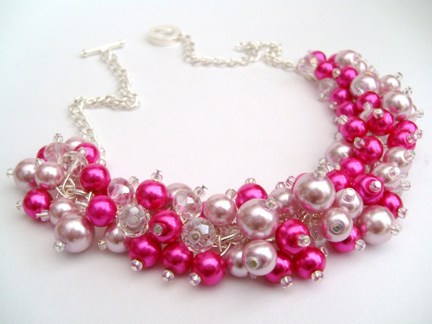 Hot Pink Pearl Beaded Necklace Hot Pink Bridesmaid Jewelry