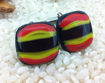 Retro Hand Crafted Fused Glass Cufflinks - Yellow Red Black Silver Tone T-Bar