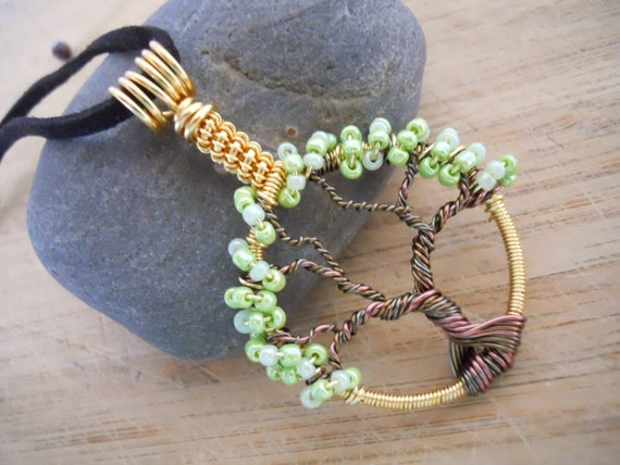 Tree of Life Pendant Mixed Metal Light Green Seed Beads Wire Wrapped Gunmetal Vintage Bronze Gold Antique Copper Parawire