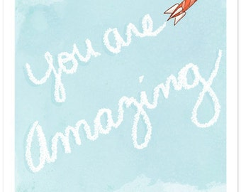 Children's Wall Art Print - You Are Amazing - Kids Nursery Room Decor