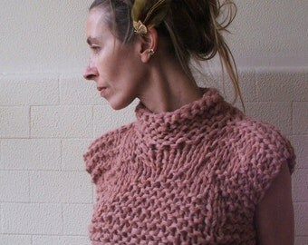 Dusky Pink Bamboo cropped tank / vest / sweater