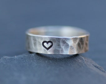 Sterling Silver Hand Stamped Personalized Heart Ring for Men or Women