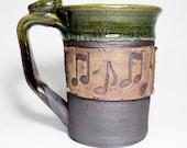 Music note mug,  20oz handmade mug, large stein with notes, green, ready to ship