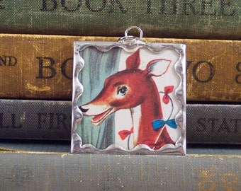 SALE - Deer Pendant - Soldered Glass Pendant - Stained Glass Deer Charm with Vintage Book Illustration - Book Charm - Deer Necklace