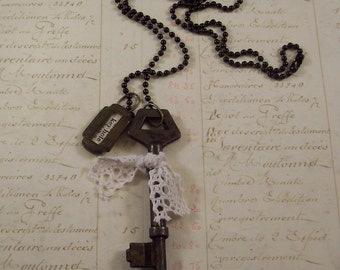 Vintage Keyhole and Key Charm Necklace  - Steampunk Necklace - Victorian Style Necklace -  Mixed Media Found Objects Assemblage Necklace