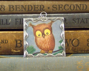 Owl and Full Moon Pendant - Owl Charm - Double Sided Soldered Charm with Vintage Book Illustration - Owl Pendant