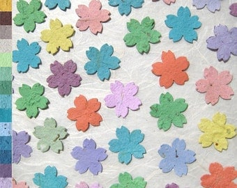 100 Cherry Blossom Confetti Flowers - Plantable Seed Paper Wedding Favors