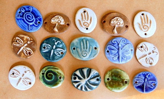 15 Handmade Ceramic Bracelet Beads - Small Bead Assortment - Sweet Spring Assortment for Craft Parties and Teen Birthday Parties