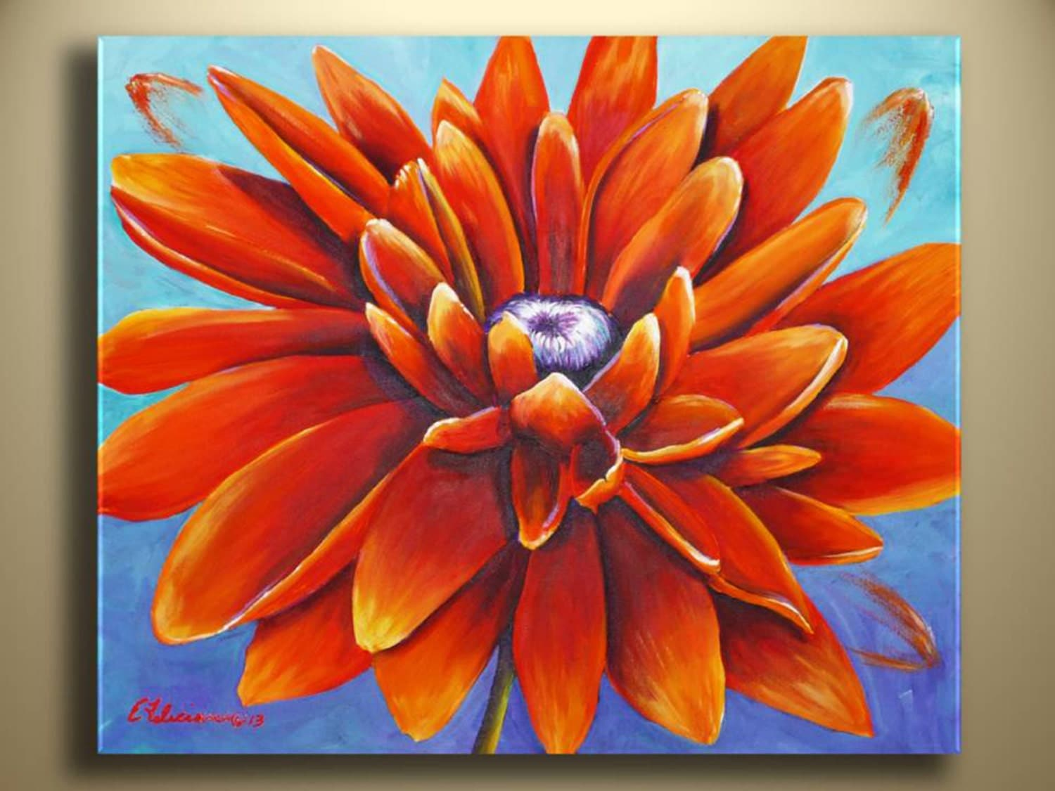 Original Acrylic Painting Sunflower Painting Abstract Modern    Easy Acrylic Painting Ideas Abstract